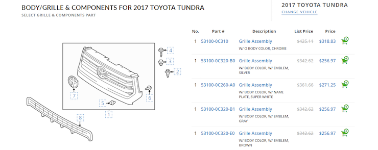 Toyo grille cost