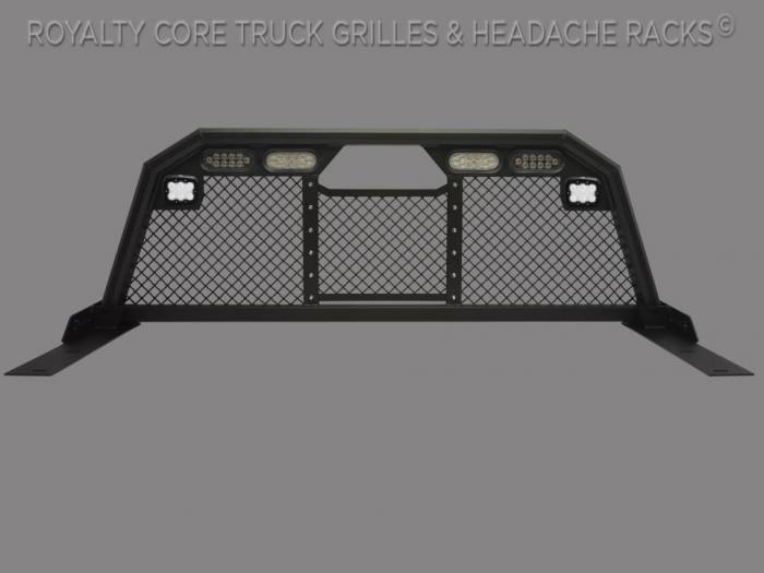 Royalty Core - Dodge Ram 1500 2002-2008 RC88 Ultra Billet Headache Rack w Integrated Taillights & Dura PODs