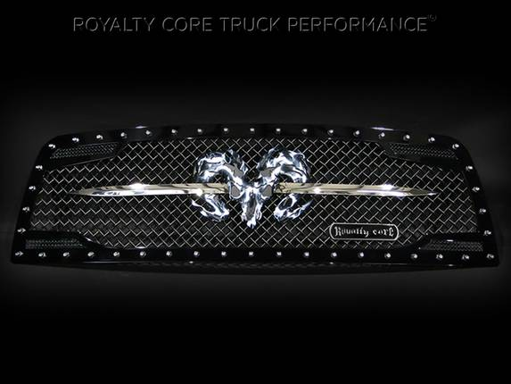Royalty Core - Dodge Ram 1500 2009-2012 RC2 Grille Twin Mesh w/ Speared Ram Sword Assembly