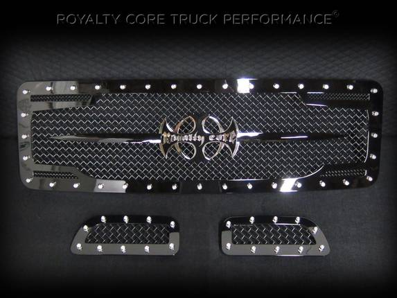 Royalty Core - Ford Super Duty 1999-2004 RC2 Twin Mesh Main Grille 3 Piece with Chrome Logo