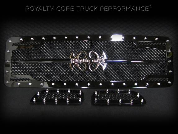 Royalty Core - Ford Super Duty 2005-2007 RC2 Twin Mesh Main Grille 3 Piece with Chrome Logo