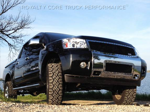 Royalty Core - Nissan Titan 2004-2015 RC1 Full Grille Replacement Chrome & Black Mesh