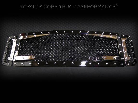 Royalty Core - Ford Super Duty 1999-2004 RC3DX Black & Chrome Main Grille 3 Piece No Sword