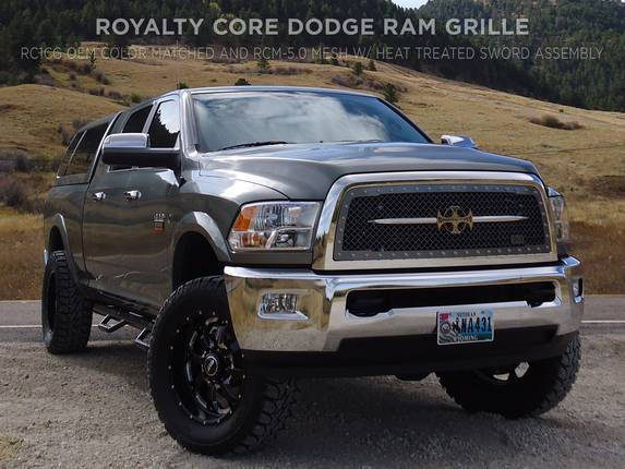 Royalty Core - Dodge Ram 1500 2013-2018 RC1 Main Grille Color Match with Chrome Sword Assembly