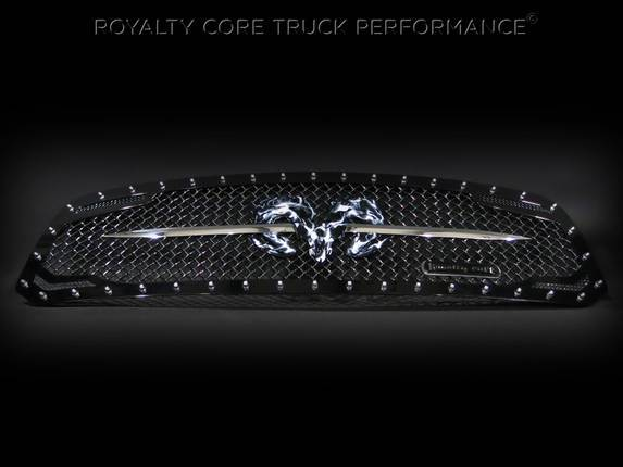 Royalty Core - Dodge Ram 1500 2013-2017 RC2 Grille Twin Mesh w/ Speared Ram Sword Assembly