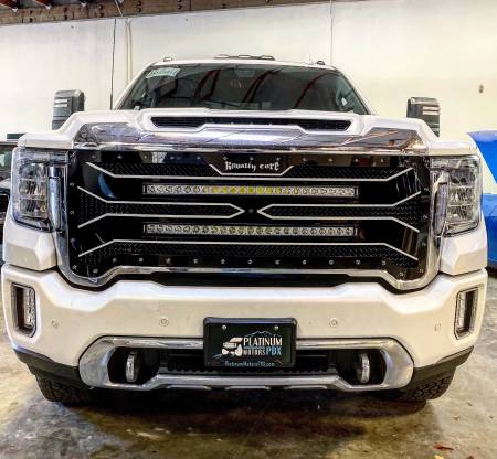 "Grilles - RC4 DoubleX - Royalty Core - GMC 2500/3500 HD 2020+ RC4 DOUBLEX Layered with TWO 30"" Curved LED Grille"