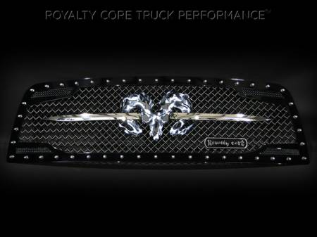 1500 - 2009-2012 - Royalty Core - Dodge Ram 1500 2009-2012 RC2 Grille Twin Mesh w/ Speared Ram Sword Assembly