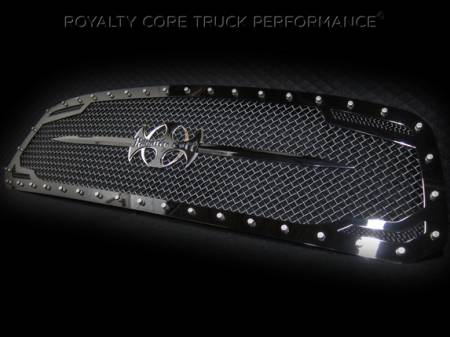 Grilles - RC2 - Royalty Core - Dodge Ram 2500/3500 2013-2017 RC2 Main Grille Twin Mesh Gloss Black w/ Swords