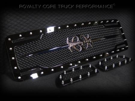 Royalty Core - Ford Super Duty 2005-2007 RC2 Twin Mesh Main Grille 3 Piece with Chrome Logo - Image 2