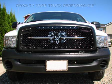 Grilles - RC2 - Royalty Core - Dodge Ram 1500 2002-2005 RC2 Main Grille Twin Mesh with Ram Skull Logo