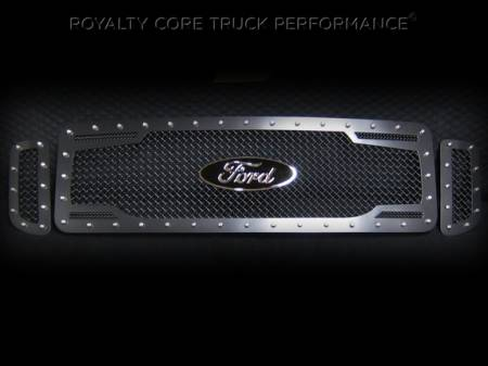 SuperDuty - 1999-2004 - Royalty Core - Ford SuperDuty 1999-2004 RC2 Twin Mesh Main Grille 3 Piece w/ Ford Oval