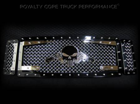 Royalty Core - Ford Super Duty 1999-2004 RC3DX 3 Piece Grille Chrome & Black w/ 1911's Punisher