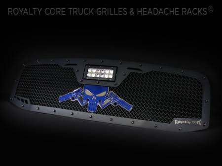 Gallery - CUSTOM GRILLES - Royalty Core - 2009 Ram 3500 Custom Grille with Colt 1911 Punisher